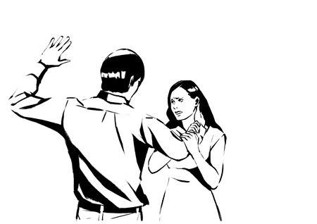 illustration of different domestic violence situations in this society. Hand drawn black on white background.