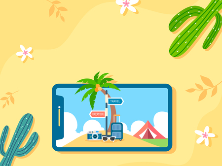 Summer holiday background with beach and forest landscape vector illustration