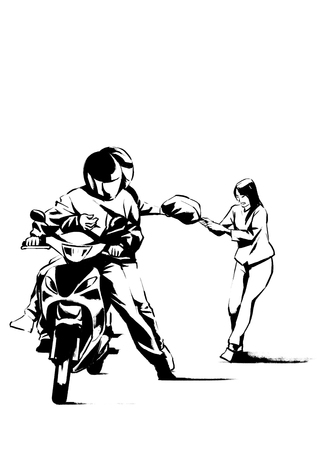 Vector - illustration of different domestic violence situations in this society. Hand drawn black on white background.