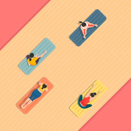 Standard-Bild - Luftaufnahme von Sportspielen in flacher Design-Stilillustration Vektorgrafik