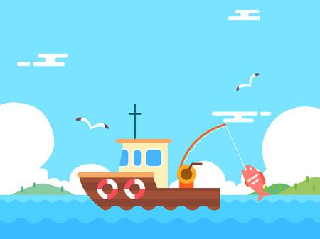 Summer holiday background with beach and forest landscape vector illustration Illusztráció