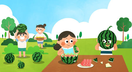 Various activities for children during summer vacation vector illustration