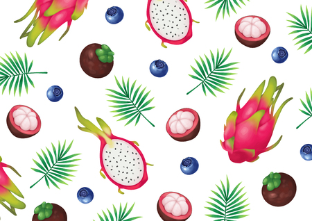 Vector - Summer fruits and Tropical leaves background seamless pattern vector illustration Illustration