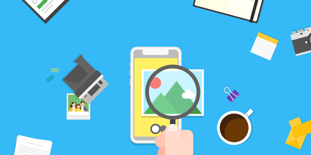 Vector - Mobile devices, services concepts with tools an objects on top view illustration