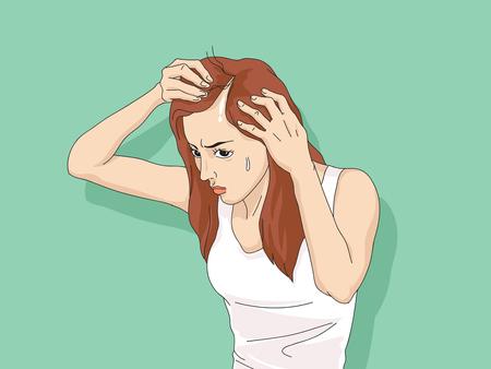 Vector - Hair loss cartoon, Young man and woman serious hair loss problem for hair loss concept vector illustration.