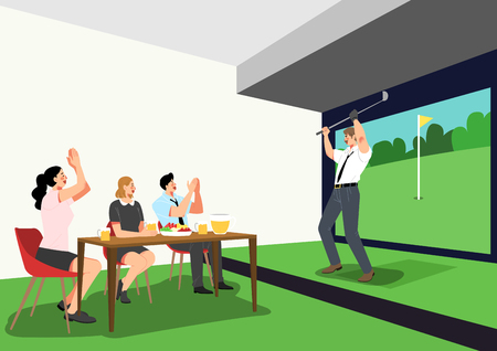 Vector - having fun together after work. playing game with office colleagues or friends. vector illustration. Çizim