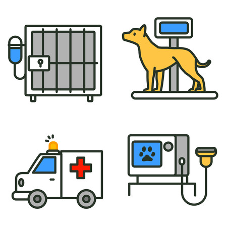 Flat veterinary icons set. use for web and mobile UI, set of basic veterinary elements isolated vector illustration