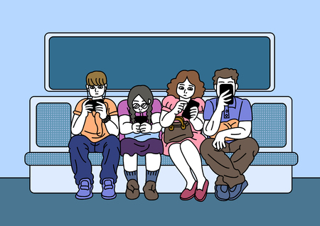Vector - Smartphone addiction concept vector illustration. many people are always using it, and lack of communication.