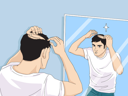 hair loss cartoon, Young man and woman serious hair loss problem for hair loss concept vector illustration. Archivio Fotografico - 111461697