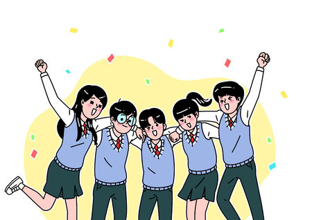 School life cartoon. Teenagers, middle and high school students vector illustration
