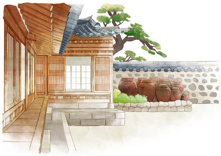 the beauty of the hanok, traditional Korean-style house on watercolor background 005 Фото со стока