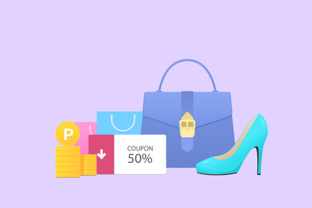 Flat design for online shopping. Flat style objects vector illustration 017