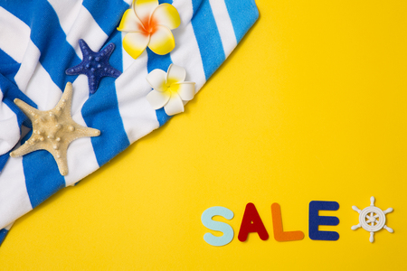 Summer holiday concept photo. vacation items and beach accessories in swimming pool or yellow background. 072 写真素材