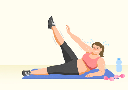 Doing exercises to lose Weight, health care concept illustration 020