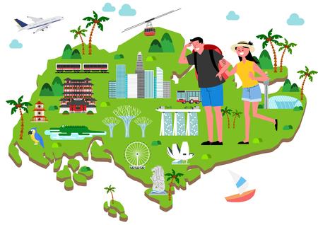 Trip to East asia, Travel Landmarks Vector Illustration 005