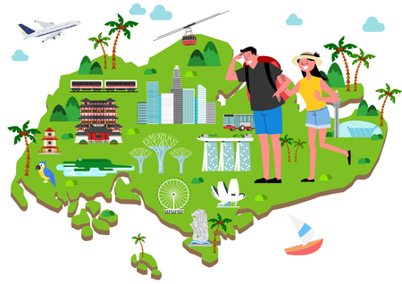 Trip to East asia, Travel Landmarks Vector Illustration 005