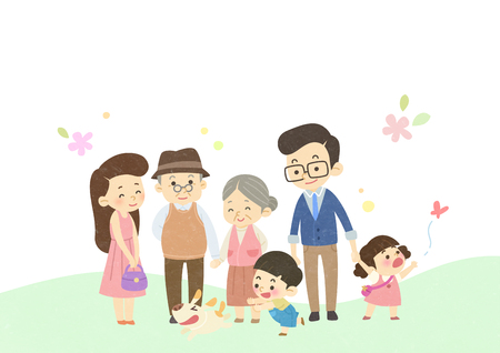 Vector - Enjoy spring season with happy family illustration 003 Stockfoto