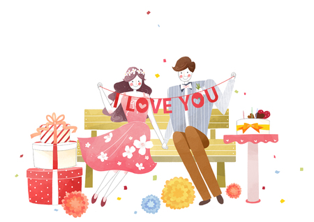 Vector - Couple in love, event day concept illustration 002 版權商用圖片