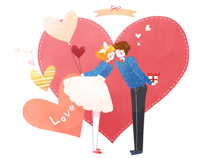 Vector - Couple in love, event day concept illustration 005