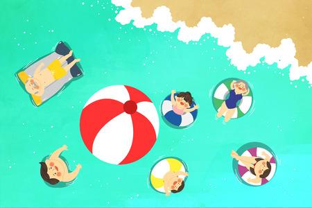 Vector - illustration of happy family all seasons 016