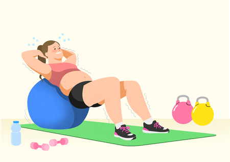 Doing exercises to lose Weight, health care concept illustration 002 Stock Photo