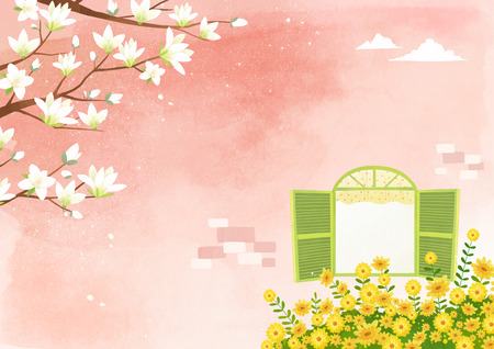 Vector - beautiful spring season landscape painting 004
