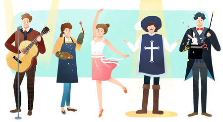 Vector illustration - People who have jobs as same trail. People working at various jobs  without distinction of sex, men or women recently. 011 版權商用圖片 - 114681126