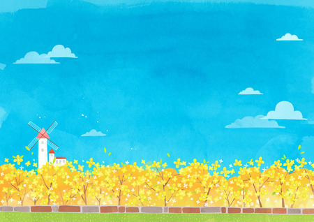 Vector - beautiful spring season landscape painting 005