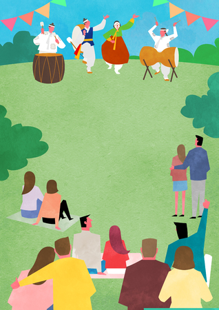 Vector - Open air festival background, group of people partying illustration 009