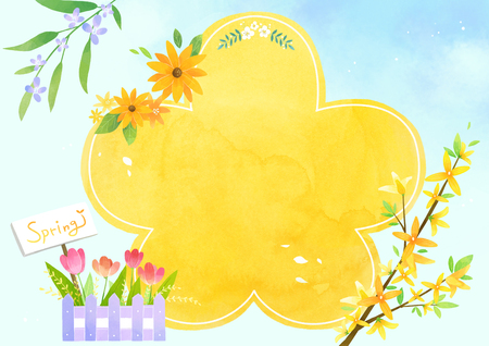 A card template, frame border for a text with spring elements