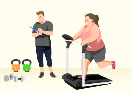 Doing exercises to lose Weight, health care concept illustration Stock Photo