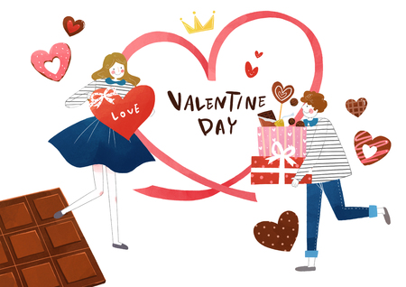 Couple in love, event day concept illustration