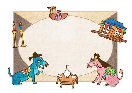 set of hand drawn doodle frames design, the subject is livestock. Korean prints or folktale style.