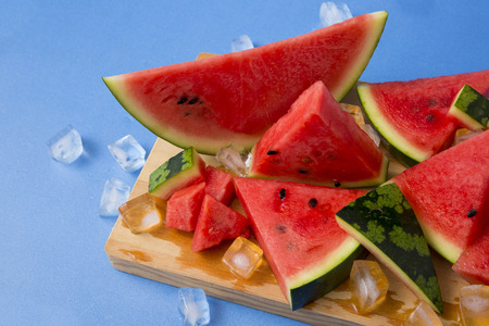 Delicious summer fruits object photo, tomato, oriental melon and watermelon 110