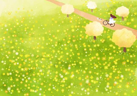 Vector - beautiful spring season landscape painting 003