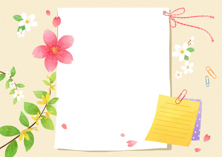 Vector - A card template, frame border for a text with spring elements, invitation, postcards, cards and so on. 002
