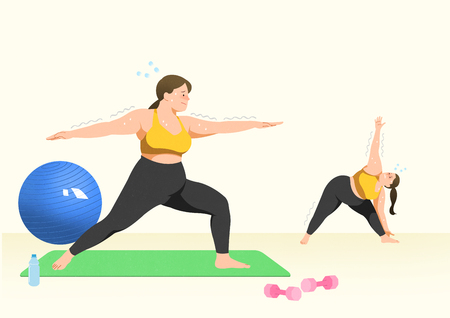 Doing exercises to lose Weight, health care concept illustration 004