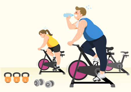 Doing exercises to lose Weight, health care concept illustration 006