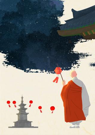 Buddhas Birthday illustration