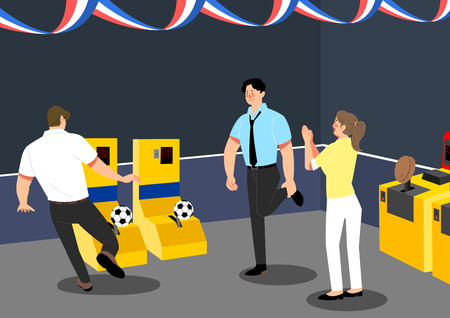 having fun together after work. playing game with office colleagues or friends. vector illustration.