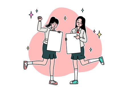 School life cartoon. Teenagers, middle and high school students 스톡 콘텐츠 - 111929873