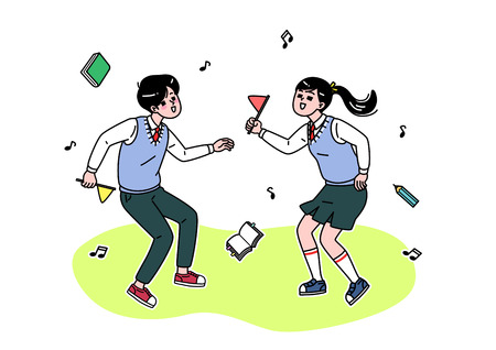 School life cartoon. Teenagers, middle and high school students