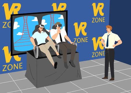 Vector - having fun together after work. playing game with office colleagues or friends. vector illustration. Stock Photo
