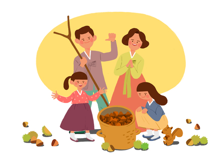 Happy family having a Korean Thanks Giving Day, Chuseok vector illustration 003 스톡 콘텐츠 - 114752268