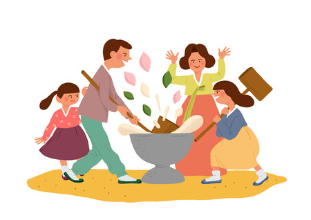 Happy family having a Korean Thanks Giving Day, Chuseok vector illustration 010 스톡 콘텐츠 - 114754320