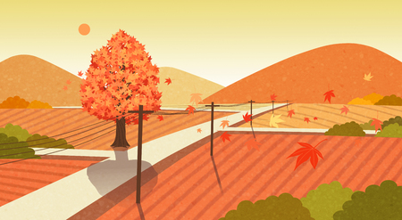 Beautiful autumn landscape colorful nature scenery vector illustration 011