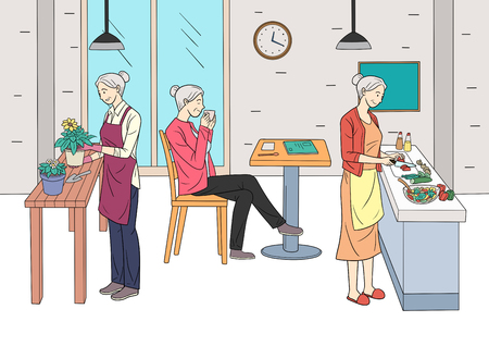 Different human daily life, ordinary and healthy lifestyle vector illustration 004