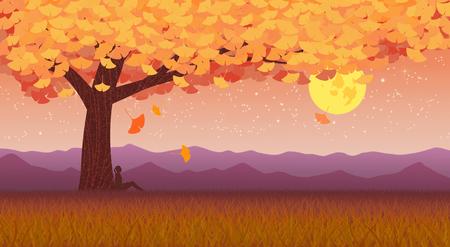 Beautiful autumn landscape colorful nature scenery vector illustration 012 版權商用圖片