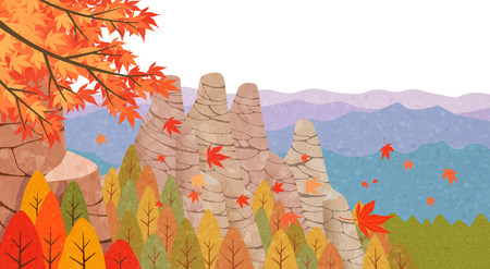 Beautiful autumn landscape colorful nature scenery vector illustration 006