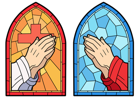 Stained glass in a Catholic Church. Religious meanings and scenes of the Christians traditions vector illustration 014
